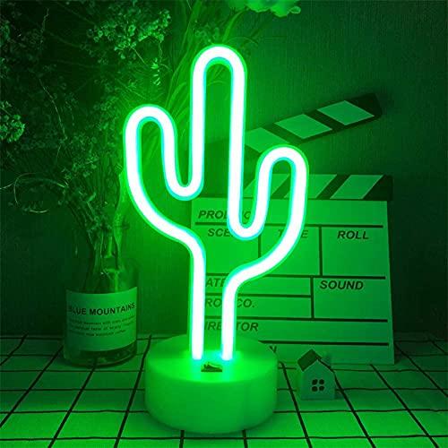 ENUOLI Cactus, luz de neón LED con soporte, lámpara de noche neón, funciona con pilas, por USB, luz de neón para fiestas, cumpleaños, decoración, niños, suministros de regalo