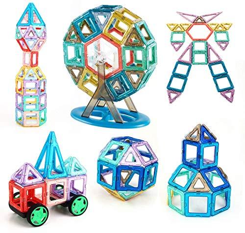 iKing マグネットブロック 128ピース 磁気おもちゃ 大容量 誕生日プレゼント 子供 マグネットおもちゃ 磁石ブロック 知育玩具 立体パズル モデル ゲーム DIY 積み木 ブロック おもちゃ 子ども オモチャ 車・かんらんしゃ・ロボット・三角形・四角形・数字・英語など 磁性構築 立体パズル 知育オモチ キッズ 女の子 男の子 玩具 ギフト プレゼント 贈り物 日本語 収納便利 ケース付き ママ安心