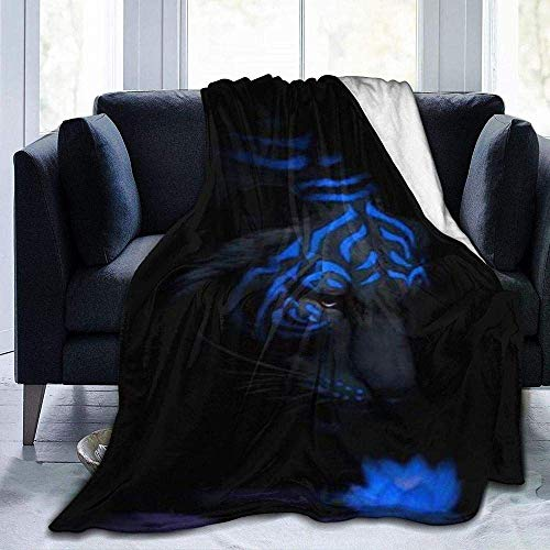 lucky-bonbon Fiercely Tiger Blue Wallpaper Theme Fashion Winter Warm Sofa Decke (Möbel Bettware)