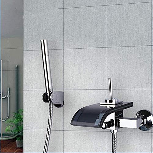 Grifos de baño construcción cromo negro vidrio caño cascada baño baño y ducha grifo con grifo de mano