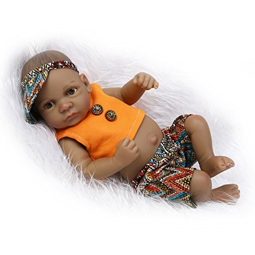 Funny House 10inch 26cm Full Body Silicone Soft Vinyl Real Looking Reborn Baby Dolls Lifelike Native American Indian Style Black Skin Boy Newborn Doll