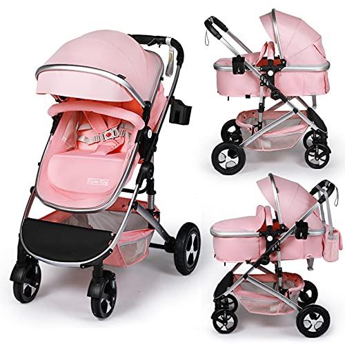 Kinder King 2 in 1 Convertible Baby Stroller, Folding High Landscape Infant Carriage, Newborn Reversible Bassinet Pram, Adjustable Canopy, Diaper Bag, Anti-Shock Toddler Pushchair Stroller, Pink