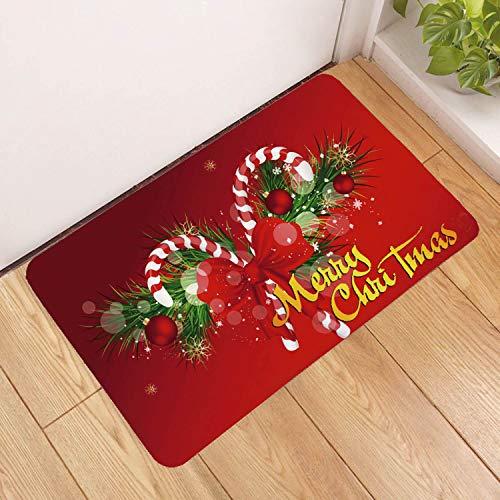 Deurmat tapijt, 3D-gedrukt schattige kerstmis snoep en slinger, antislip, zachte ingang, vloermat, welkom, slaapkamer, hal, rechthoekige deurmat voor Kerstmis, thuis en in de woonkamer 40×60cm