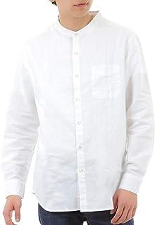 [eONE(イーワン)] ノーカラーシャツ バンドカラー リネン 麻 長袖 メンズ【襟なしシンプルおしゃれ】