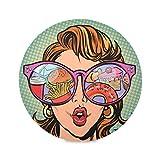 Zemivs Set di 4 tovagliette Rotonde Fantasia Una Donna Che Indossa Occhiali da Sole Tovagliette Antiscivolo Tovaglietta da scrivania 15,4 Pollici Facile da Pulire per Cucina Tavolo da Pranzo Festa