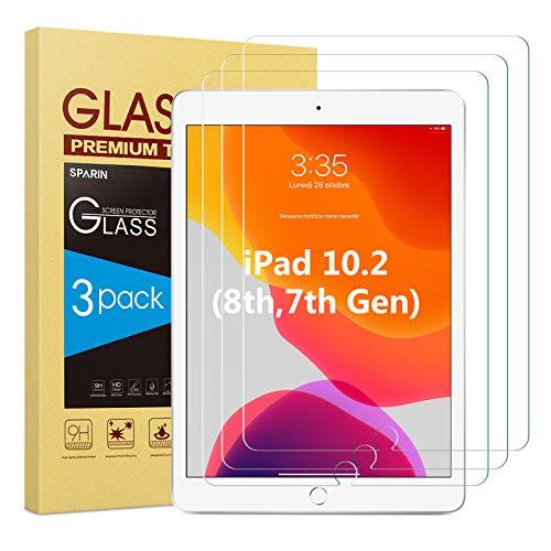 SPARIN Panzerglas Schutzfolie für iPad 8. Generation/ iPad 7. Generation, [3 Stück] iPad 10.2 2020/ 2019 Panzerglas Displayschutzfolie mit [Blasenfrei] [9H Härte] [Anti-Kratzen] [Anti-Öl]