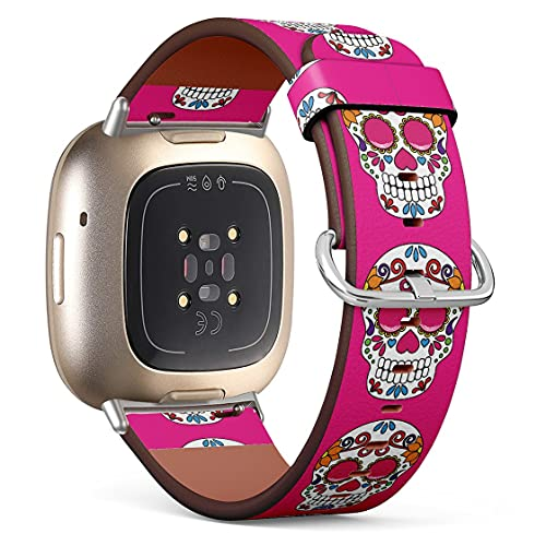Replacement Leather Wristbands Compatible with Fitbit Sense/Fitbit Versa 3 - Day of The Deal Sugar Skull
