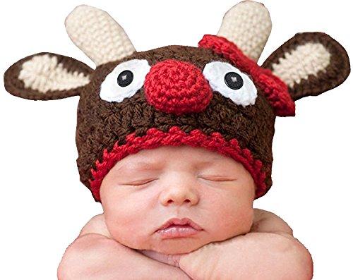 AKAAYUKO Bebé Recién Nacido Hecho A Mano Crochet Foto Fotografía Prop Disfraz (Ciervo Sombrero)