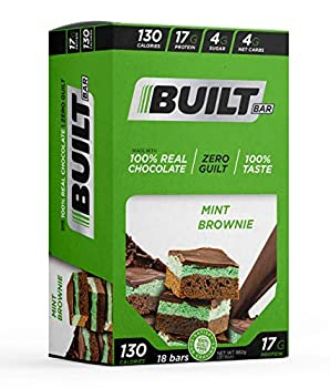 Built Bar 18 Pack Protein and Energy Bars - 100% Real Chocolate - High In Whey Protein And Fiber - Gluten Free Natural Flavoring No Preservatives  Mint Brownie