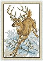 クロスステッチ キット、大人の初心者 刺繍 手芸用品、鹿のランニング、11CT 手芸 プリント刺繡 図柄印刷 初心者 刺繍糸 針 布 家の装飾 壁の装飾 40×50cm