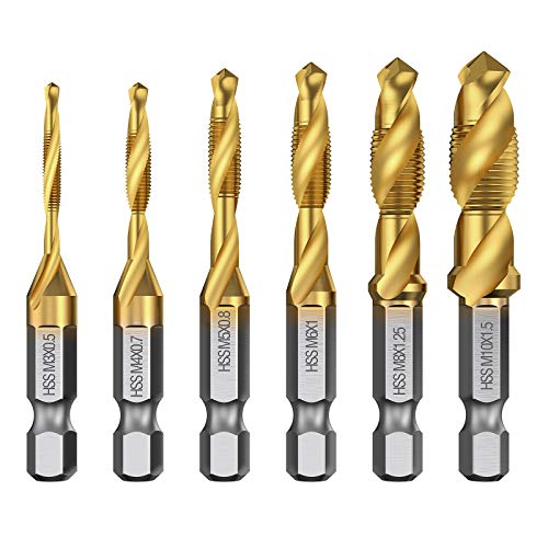 AMTOVL Hex Shank Drill Bits 6pcs Spiral Drill Bit HSS Combination Drill Tap Bit Hex Shank Countersink Tap Drill Bit Set Titanium Coated Countersink Bit