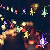 Seglory Guirlande Lumineuse Étoile, 6M 40 LED Guirlande de Lumière Alimenté par pile Décorations Intérieure et Extérieure pour Chambre Enfant, Jardin, Anniversaire, Mariage, Sapin de Noël, Coloré