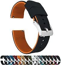 22mm Black/Pumpkin Orange - Barton Elite Silicone Watch Bands - Quick Release - Choose Strap Color & Width