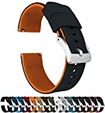 22mm Black/Pumpkin Orange - Barton Elite Silicone Watch Bands - Quick Release - Choose Strap Color & Width