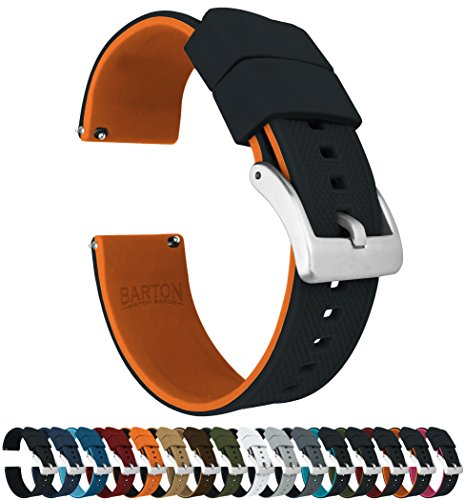 20mm Black/Pumpkin Orange - Barton Elite Silicone Watch Bands - Quick Release - Choose Strap Color & Width