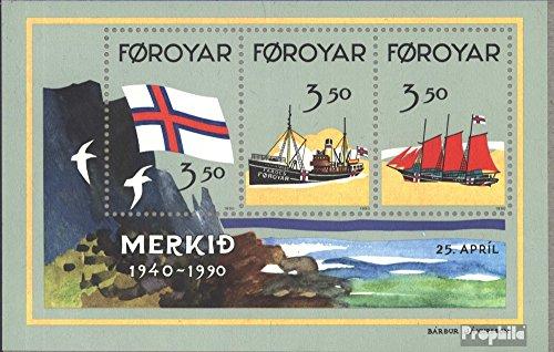 Prophila Collection Dänemark - Färöer Block4 (kompl.Ausg.) 1990 50 Jahre Färöer-Flagge (Briefmarken für Sammler) Seefahrt