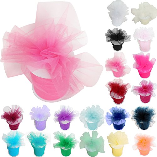 TtS 6 Zoll 100 Yards (15cm x 91M) Tüll Rolle Tutu Ballettrock Hochzeit Party Crafts Geschenk Tüllband Rollenspule (Pink)
