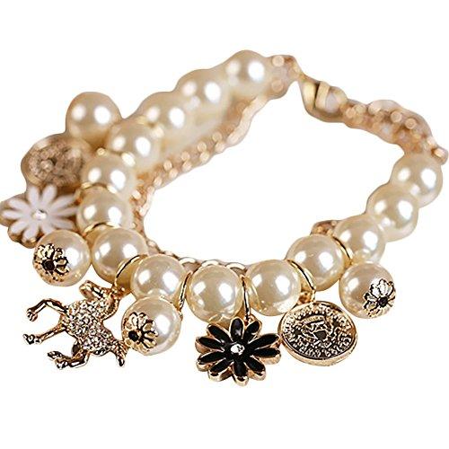 SoundsBeauty - Pulsera de Perlas de imitación con Incrustaciones de Diamantes de imitación, diseño de Caballo y Flores, Regalo de joyería