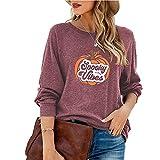 LYAZFC - Camiseta de Manga Larga Multicolor con Estampado de Calabaza de Halloween para otoño/Invierno para Mujer