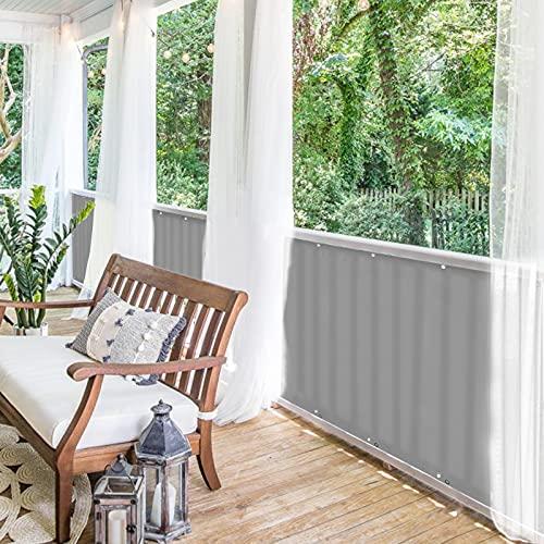 BALCONIO Balkon Sichtschutz wasserabweisend Balkonbespannung Balkonabdeckung für Balkon Terrasse aus Polyester-Hellgrau-500 x 85 cm
