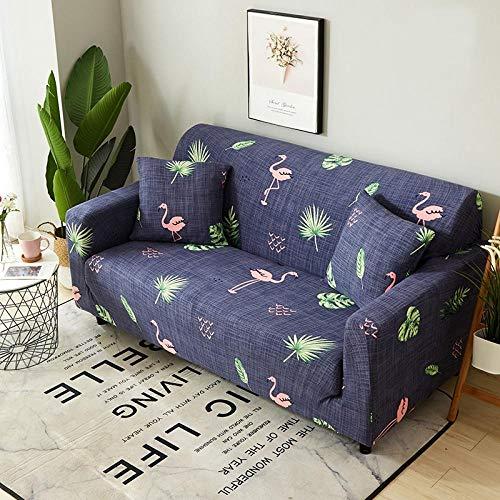 Funda Sofá 145-185 cm con Funda de Cojín de 2 Piezas 45x45 cm (Pack de 3), Poliéster Stretch Cubre Sofá Funda Protector Antideslizante Sofa Couch Cover (Flamingo/2 Asientos)