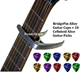 PennyCreek Alloy Guitar Capo With BridgePin Remover with 10 CelluLoid Alice Guitar Picks for Acoustic Guitar, Electric Guitar, Ukulele (Silver) (Limited Period Offer)