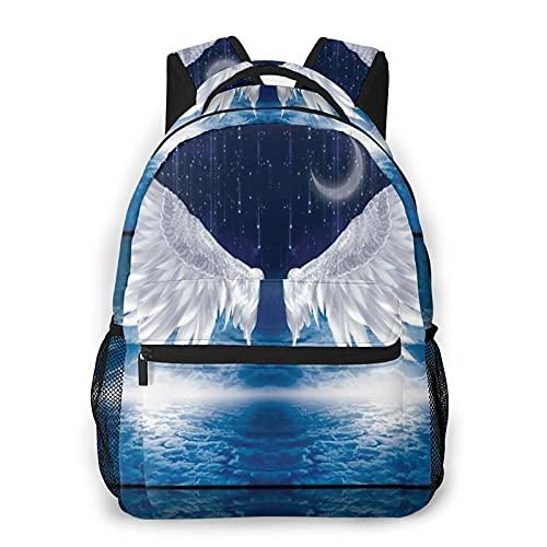 Nongmei Zaino da viaggio per laptop,Angel Wings Moon Ocean,Business Water Resistant Antifurto Daypack Slim Durevole