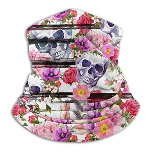 Akhy Multifunctional Headwear Face Mask Headband Neck Gaiter Human Skulls with Bright Flowers for Day of Dead. Balaclava for Men and Women
