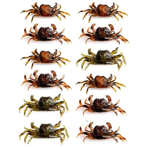 Monland - Juego de 12 cebos artificiales de cangrejo, cebos blandos de...