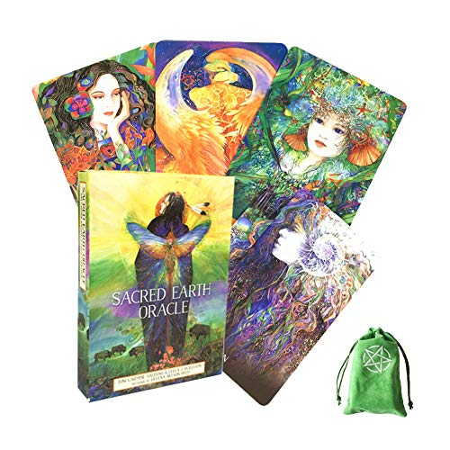 Sacred Earth Oracle Cards Friends Family Party Playing Holiday Happy Board Game Gift Cards,with Bag,Tarot Cards