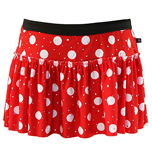 Red with White Polka Dots Sparkle Running Skirt XS