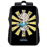 Tommy Retro Japonés Rugrats Mochila Daypack Bookbag Laptop School Bag con puerto de carga USB