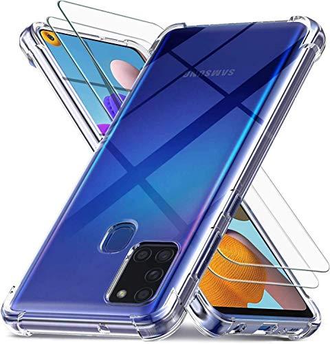 MUTOUREN Funda Samsung Galaxy A71 (5G) Protector de Transparente, con 2* Gratis [Vidrio Templado], Ultra Delgado Protectora de Silicona Estuche Anti-arañazos Cubierta Carcasa