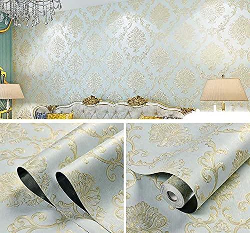 Papel pintado adhesivo adhesivo para pared de dormitorio, habitación decorativa 3D, precipitación estereobemunidad 3D, 0,53 x 3 m, color azul claro