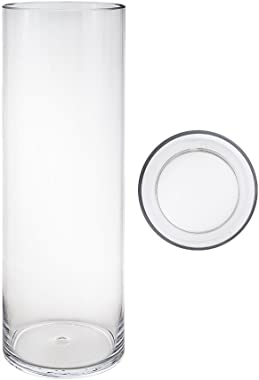 Mega Vases Cylinder Vase 6 Inch x 24 Inch, Decorative Clear Glass with Sturdy Base, Wedding Centerpieces, Flower Bouquets, Ho