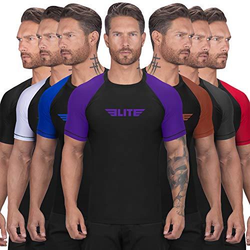 Elite Sports New Item Standard Short Sleeve Compression, Mma, Bjj, No Gi, Cross Training Rash Guard, Large, Purple