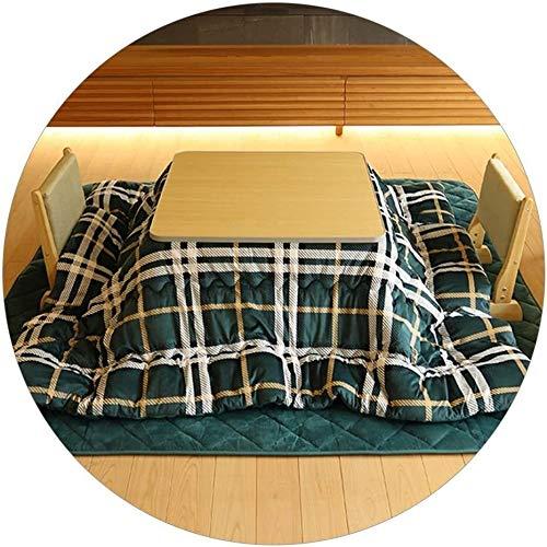 BESTPRVA Kotatsu Table Set Tables Household Kotatsu Japanese Folding Storage Heating Living Room Folding Home Tatami Kotatsu Tea Tea With Blanket Floor Mat (Color : 75 * 75 * 36cm, Size : Green)