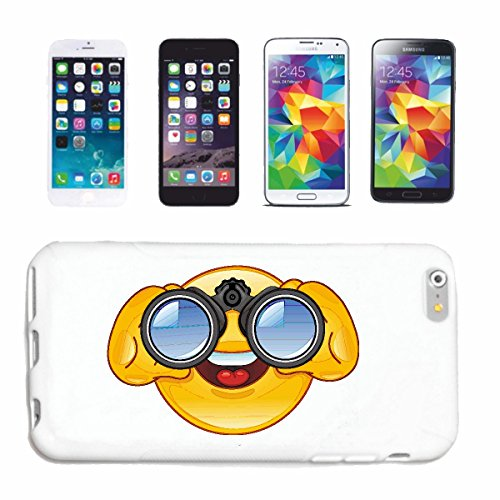 Helene Handyhülle kompatibel für Samsung Galaxy S8 Smiley SCHAUT DURCH FERNGLAS Smileys Smilies Android iPhone Emoticons IOS GRINSE Gesicht Emoticon APPHardc