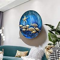 屋内 ウォールアート飾り、 航海スタイルフィッシュアクアのテーマ 金属の壁の彫刻 地中海スタイル 壁面装飾を吊るすための、 直径65センチメートル
