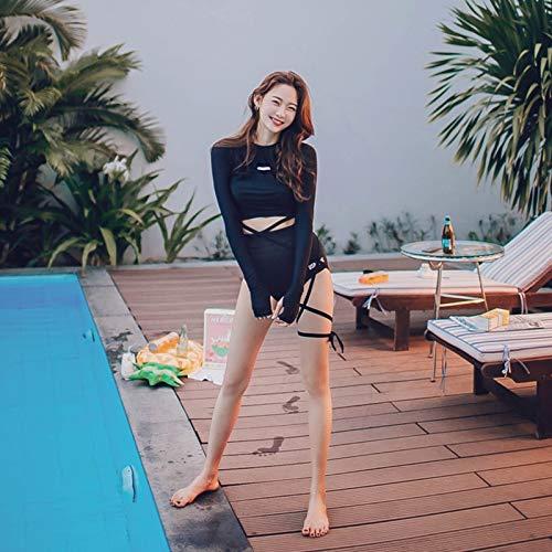 Rhyme Ladytwo stukken met lange mouwen Rash Guard Hot verkoop hoge taille badmode badpak meisjes nieuw ontwerp High Neck Duiken Wetsuit (Color : As picture, Size : M)
