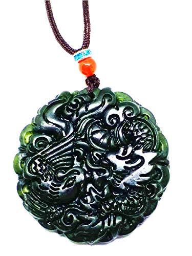 Halskette mit natürlichem chinesischen Jadeit-Drachen-Anhänger, Schwarz / Grün