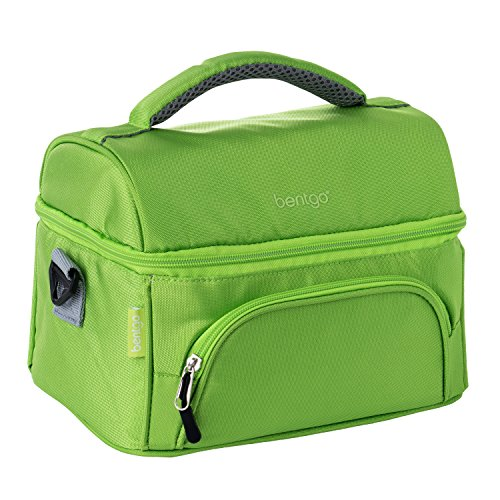 Bentgo Lunch Bag (Green) - Insulated Lunch Tote for Work and School with Top and Main Compartments, 2-Way Zipper, Adjustable Strap, and Front Pocket - Fits All Bentgo Lunch Boxes and Other Containers
