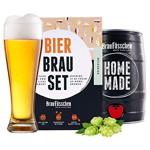 braufaesschen | Bierbrauset zum selber brauen | Weißbier im 5L Fass | In 7 Tagen gebraut | Tolles Geburtstagsgeschenk aus München Bayern
