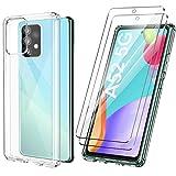 ivencase Funda Ultra híbrido Compatible con Samsung Galaxy A52 5G Carcasa Trasera Anti-amarilleo con 2 Piezas de Vidrio Templado Compatible conSamsung A52 4G -Transparente