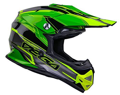 Vega Helmets Unisex-Child Youth Off Road Helmet (Green Stinger Graphic, Large)