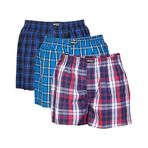DA!LY Underwear Herren Webboxer Boxershorts Webboxershorts Men kariert S M L XL 2XL 3XL 4XL 5XL 100% Baumwolle 3er Pack, Größe:XXL (8), Farbe:Farbkombi 99/6