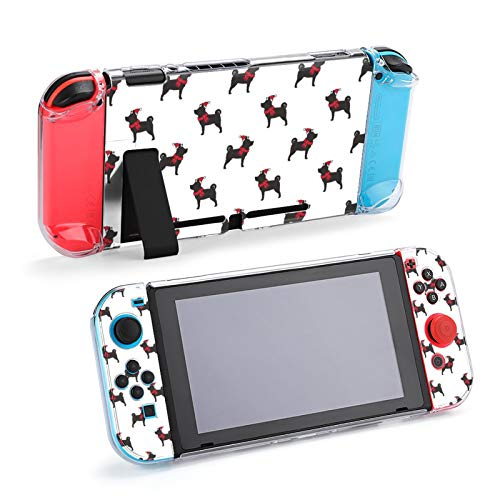 Dog Christmas Santa Claus Xmas Hat French Bulldog Scarf Case Dockable Protective Case Cover for Nintendo Switch and Joy-Con Controller
