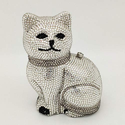 XLJJB Lovely 3D Cat Women Golden Crystal Minaudiere Pochette da Sera...