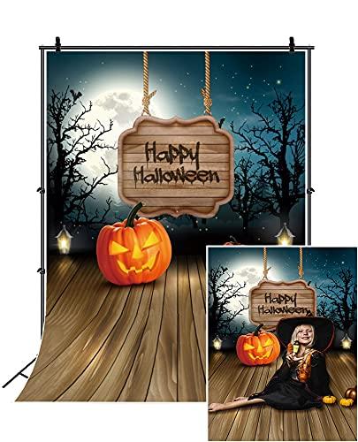 Dashan 1,2 x 1,8 m Pano de fundo de poliéster Feliz Dia das Bruxas, assustador, sombrio, árvore, fantasma, floresta, lua cheia, morcegos, abóboras em piso de madeira, fundo, festival, faixa para adultos, crianças, retrato, estúdio de foto