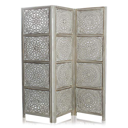 Great Deal! India Overseas Trading Corporation 6 Ft. Large Room Divider Decorative Wooden Screen Folding Privacy Screen, Wood, 72″